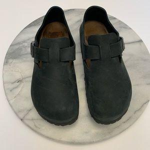 Birkenstock black london oiled leather clogs